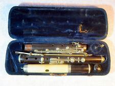 Wunderschöne Querflöte mit versilberten Elemente im originalen Koffer um 1880