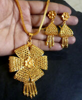 22K Gold Plated Indian 9'' Long Chain Pendant Earrings Bridal Set Party set c