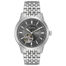 Bulova Men's Automatic 21 Jewels Skeleton Window Grey Dial 40mm Watch 96a190