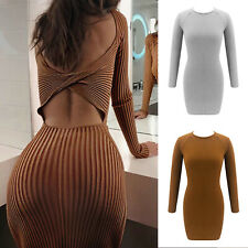 Women Sexy Bodycon Mini Dress Backless Long Sleeve Knitted Casual Party Dress UK