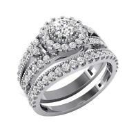 Engagement Bridal Ring I1 G 1.10 Ct Round Diamond 14K White Gold Prong Pave Set