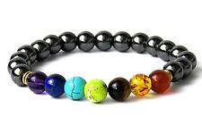 UK Donna Uomo 7 Chakra Potere curativo bilanciamento energetico Perline Braccialetto Di Cristallo Nuovo