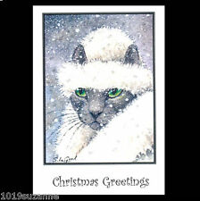 Russian Blue cat art 6 Christmas cards from original painting Suzanne Le Good