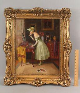 Antique Berualli French Woman Portrait Boudoir Vanity Interior Oil Painting