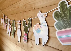 Llama🦙cactus 🌵Themed Party Event Room Decor Bunting Banner Fun Pink 3m 💜🦙