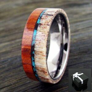 8mm Tungsten Men's Ring Deer Antler, Turquoise, & SandalWood Wedding Band