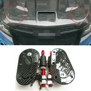 2x Racing Car Flush Mount Hood Latch Steel Pin Lock Kit Clip Carbon Fiber w/ Key