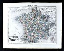 1880 Lacoste Map - France - Paris View French Riveira Laon Le Tour Bordeaux Metz