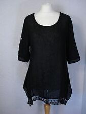 New Collection black linen & lace top asymmetric 10 12 14 16