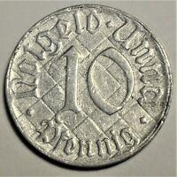 Notgeld der Stadt UNNA 10 Pfennig 1920 - Kräftiger Mann beim Graben - vz/ xf