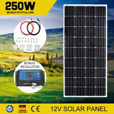 250W 12V Mono Solar Panel Kit & Regulator & Brackets & 5M Cables Completed Kit