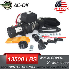 AC-DK 12V Black IP67 Electric Winch 13500 lb With Synthetic Rope and Winch Cover