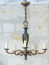 Late 19TH Antique French 5 Arms Ormolu Bronze Chandelier Ceiling Empire Style