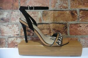 OFFICE TAN & BLACK CHAIN ANKLE STRAP SLIM HEEL SANDALS SHOES SIZE 39 UK 6 NEW