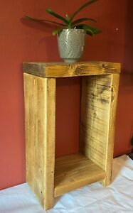 Rustic Side Table, Bedside Table Farmhouse Style Reclaimed Solid Wood Chunky