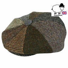 Genuine Harris Tweed 8 PEZZI Patchwork Bakerboy/Gatsby Cap/Cappello da Strillone M, L, XL, XXL