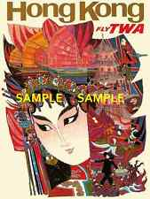 "TWA  Airlines ( HONG KONG ) 11"" x 17"" Collector's Travel Poster Print - B2G1F"