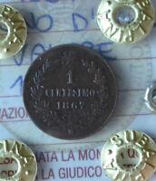 REGNO D' ITALIA VALORE 1 CENT 1867 MILANO sigillato SPL SUBALPINA
