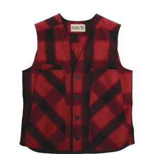 Stormy Kromer The Button Vest Wool 52510 Red/Black Plaid Large