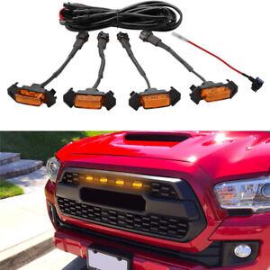 4X Raptor Style Amber Lens Grille LED Lights For Toyota Tacoma TRD Pro 2016-2018