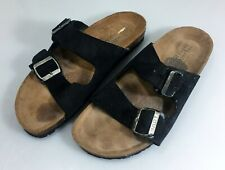 Naot Men 10 Santa Barbara Sandals Double Strap Black Leather 43EU Made in Israel