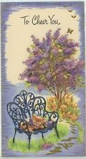 VINTAGE ORANGE TABBY CAT KITTEN SLEEP LILAC BUSH TREE GARDEN GREETING CARD PRINT