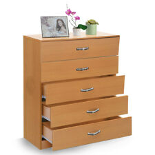 Wood Chest Of 5-Drawers Bedside Cabinet Storage Drawer Organiser Home Furniture