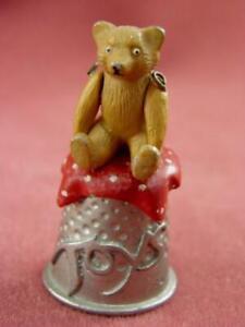 FRANCES WILSON HANTEL VICTORIAN TOY BOX THIMBLE NO. 4 TEDDY BEAR 1985