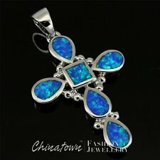 Celtic Cross Ocean Blue Fire Opal Teardrop Inlay Silver Jewelry Necklace Pendant