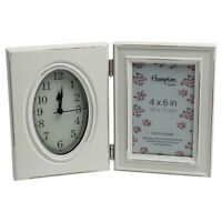 Paloma 4x6 Hinge Double White Shabby Chic Photo Picture Display Frame With Clock