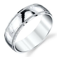 925 Sterling Silver Mens Wedding Band Ring Milgrain Comfort Fit Classic Plain