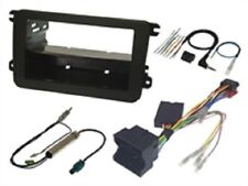 VW FOX 2006 ONWARDS BLACK SINGLE OR DOUBLE DIN FORD FASCIA SWC FITTING KIT