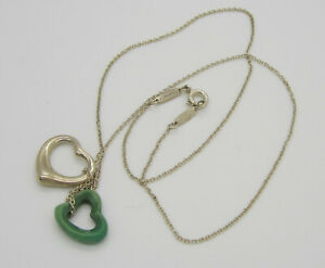 Vintage TIFFANY & CO ELSA PERETTI Sterling Silver Turquoise Open Hearts Necklace