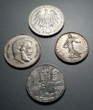 4 Stück Silbermünzen aus Europa