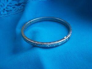 """Sterling Silver Bangle Bracelet by Marathon Hinged Floral Design 7"""" inside diame"""