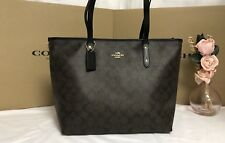 NWT Coach F58292 Signature Zip Top Leather Trimmed Large Tote Brown Black $295