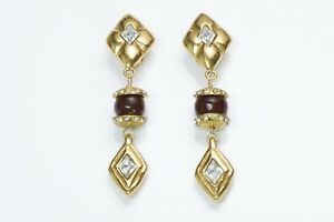 CHANEL 1970's Long Gold Plated Maison Gripoix Red Glass Crystal Earrings