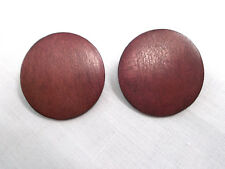 DARK BURGUNDY WINE RED COLOR WOOD ROUND BUTTON SHAPE STUD POST PIERCED EARRINGS