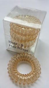Hold It Hair Rings Spiral Stretchy Bobbles Hair Bands 3 x 3.5cm Blonde Ponytail