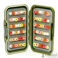 "Waterproof Fly Box + Mixed ""Egg / Glo Bug Flies"" for Trout Fly Fishing"