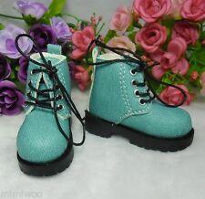 "MSD DOC 1/4 Bjd 17"" Sasha Obitsu 60cm Doll Shoes High Hill Denim Boots Cyan"