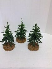 Artificial Christmas Holiday Table Top Train MINI Tree Wood Base Decor set 3
