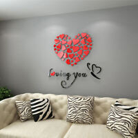 EE_ DIY Romantic Love 3D Heart Loving You Wall Sticker Decor Decal Home Office G