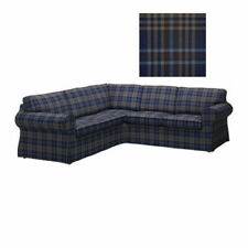 IKEA Ektorp COVER for Corner Sofa 2+2 Sectional SLIPCOVER Rutna Blue Plaid 4Seat