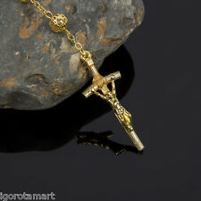 Men's Cross Crucifix Pendant 18k Gold Filled 8mm Hollow Ball Rosary Necklace