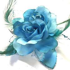 Floral Flor Boda Pelo Rosa Elástico Con Pompón Broche Broche Dama Honor