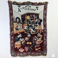 Disney the Joys of Christmas Throw Blanket Tapestry Mickey Donald Daisy Goofy