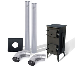 BLACK STOVE LOG BURNER + SET OF 2 PIPES AND 2 BENDS  FOR AN EXISITING CHIMNEY