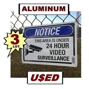 3 USED Warning Store Home Security Cameras 10x14 Aluminum METAL Yard Signs