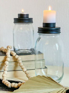 Kerzenhalter Teelichthalter auf Glasgefäß KERZENGLAS 2 Größen Schwarz